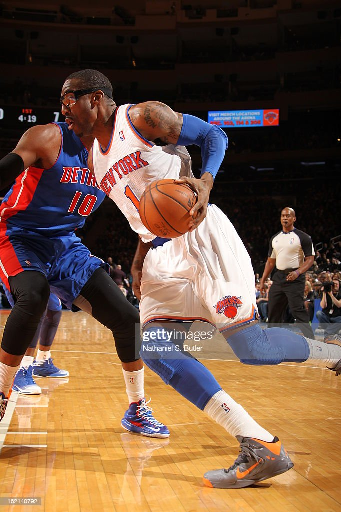 Amar'e Stoudemire #1 of the New York Knicks drives to the basket against the Detroit Pistons on February 4, 2013 at Madison Square Garden in New York City.