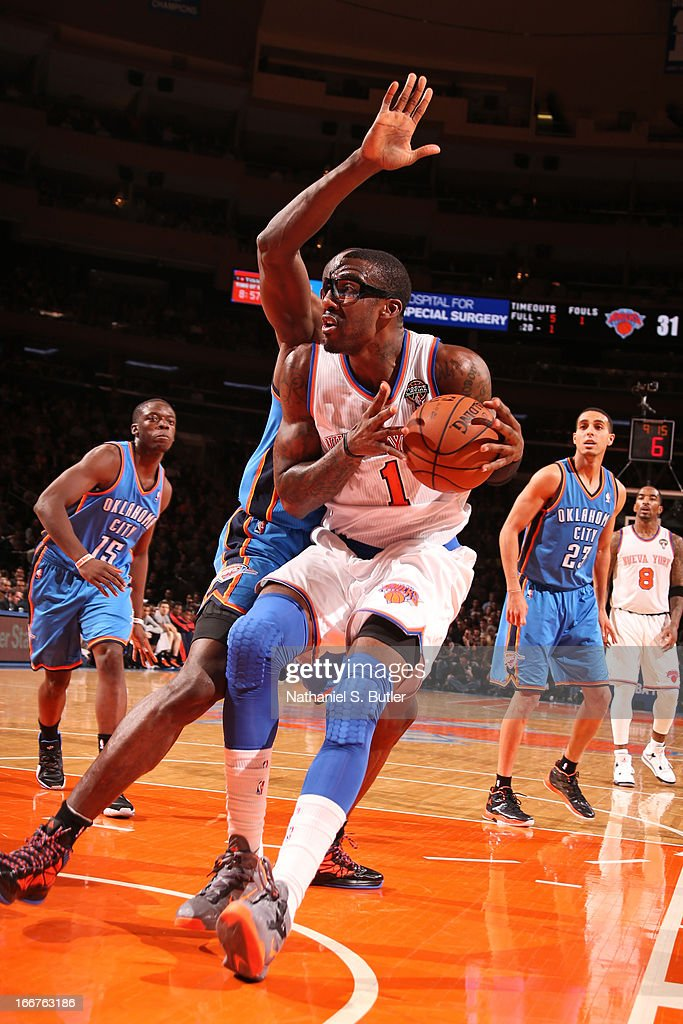<a gi-track='captionPersonalityLinkClicked' href=/galleries/search?phrase=Amar%27e+Stoudemire&family=editorial&specificpeople=201492 ng-click='$event.stopPropagation()'>Amar'e Stoudemire</a> #1 of the New York Knicks drives to the basket against the Oklahoma City Thunder on March 7, 2013 at Madison Square Garden in New York City.