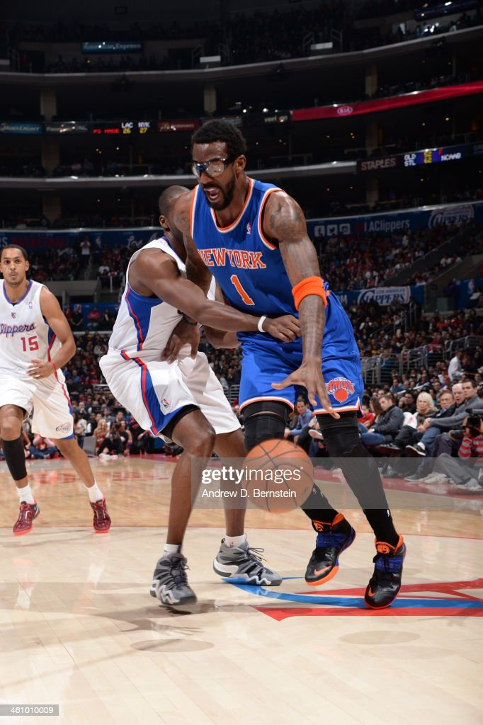 <a gi-track='captionPersonalityLinkClicked' href=/galleries/search?phrase=Amar%27e+Stoudemire&family=editorial&specificpeople=201492 ng-click='$event.stopPropagation()'>Amar'e Stoudemire</a> #1 of the New York Knicks driving the lane in a game against the Los Angeles Clippers at Staples Center on November 27, 2013 in Los Angeles, California.