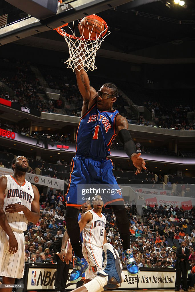 Amare Stoudemire #1 of the New York Knicks dunks against the Charlotte Bobcats at the Time Warner Cable Arena on April 26, 2012 in Charlotte, North Carolina.