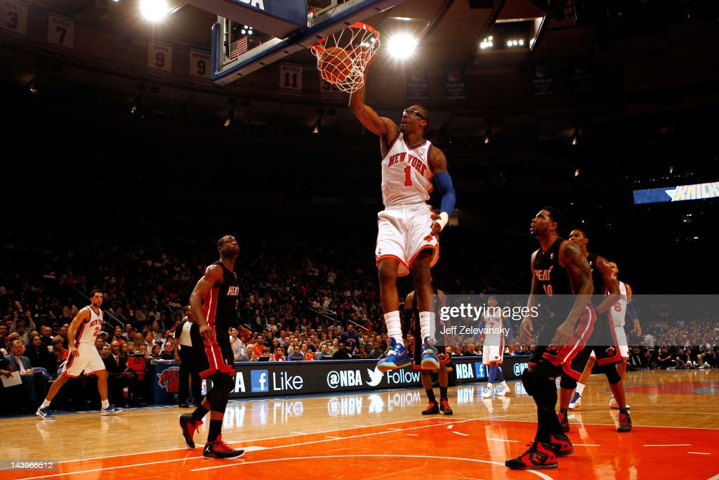 Amare Stoudemire #1 of the New York Knicks dunks in the first half against the Miami Heat in Game Four of the Eastern Conference Quarterfinals in the 2012 NBA Playoffs on May 6, 2012 at Madison Square Garden in New York City.