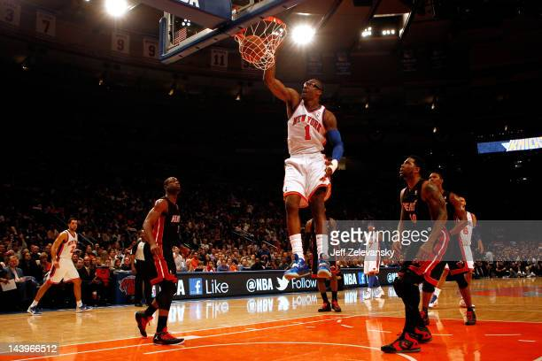 Amare Stoudemire of the New York Knicks dunks in the first half against the Miami Heat in Game Four of the Eastern Conference Quarterfinals in the...
