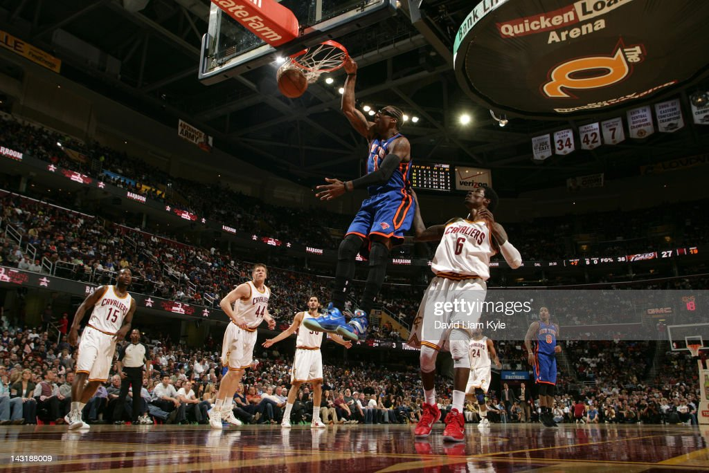 Amare Stoudemire #1 of the New York Knicks dunks the ball against <a gi-track='captionPersonalityLinkClicked' href=/galleries/search?phrase=Manny+Harris&family=editorial&specificpeople=4683139 ng-click='$event.stopPropagation()'>Manny Harris</a> #6 of the Cleveland Cavaliers at The Quicken Loans Arena on April 20, 2012 in Cleveland, Ohio.