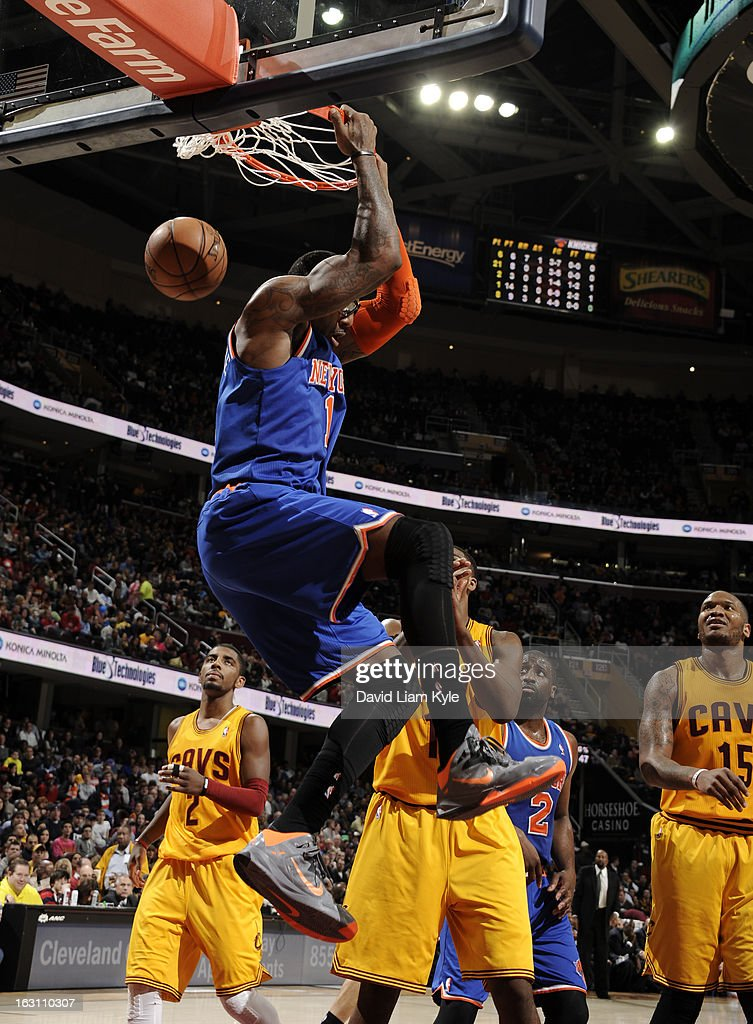 Amar'e Stoudemire #1 of the New York Knicks dunks the ball against the Cleveland Cavaliers at The Quicken Loans Arena on March 4, 2013 in Cleveland, Ohio.