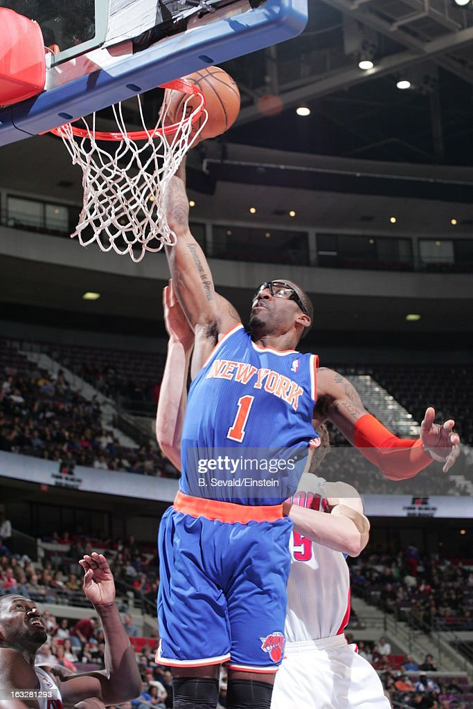 Amar'e Stoudemire #1 of the New York Knicks goes to the basket during the game between the Detroit Pistons and the Atlanta Hawks on March 6, 2013 at The Palace of Auburn Hills in Auburn Hills, Michigan.