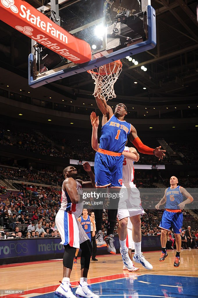<a gi-track='captionPersonalityLinkClicked' href=/galleries/search?phrase=Amar%27e+Stoudemire&family=editorial&specificpeople=201492 ng-click='$event.stopPropagation()'>Amar'e Stoudemire</a> #1 of the New York Knicks goes to the basket during the game between the Detroit Pistons and the Atlanta Hawks on March 6, 2013 at The Palace of Auburn Hills in Auburn Hills, Michigan.