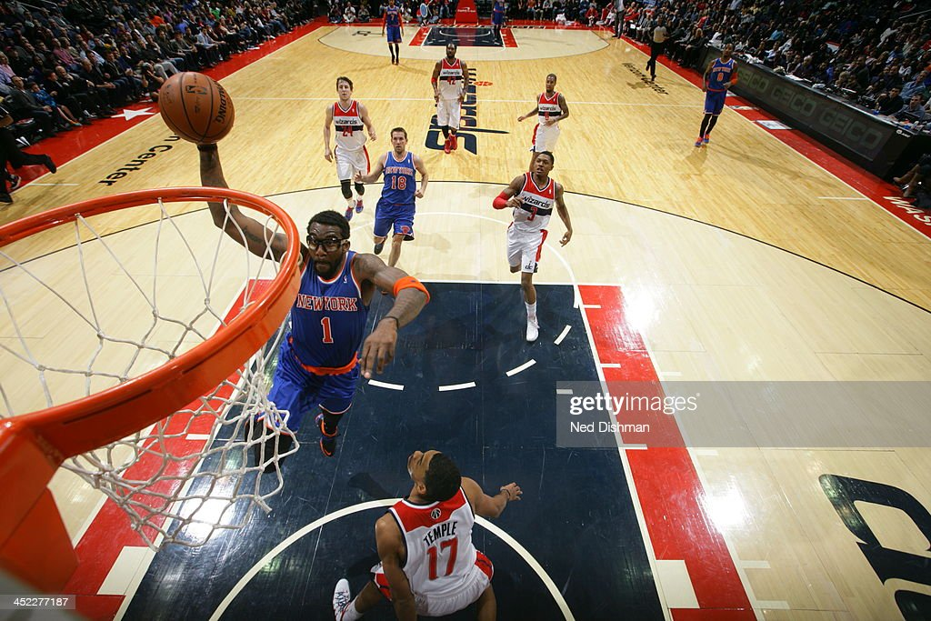 <a gi-track='captionPersonalityLinkClicked' href=/galleries/search?phrase=Amar%27e+Stoudemire&family=editorial&specificpeople=201492 ng-click='$event.stopPropagation()'>Amar'e Stoudemire</a> #1 of the New York Knicks goes up for the dunk against the Washington Wizards during the game at the Verizon Center on November 23, 2013 in Washington, DC.