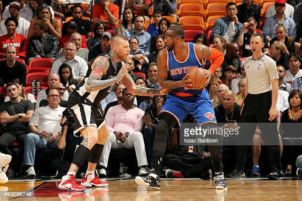 Amar'e Stoudemire of the New York Knicks handles the ball against Chris Andersen of the Miami Heat on February 9 2015 at American Airlines Arena in...