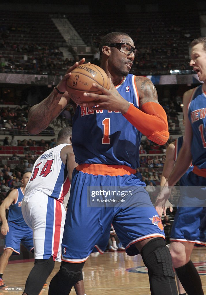 Amar'e Stoudemire #1 of the New York Knicks handles the ball during the game between the Detroit Pistons and the Atlanta Hawks on March 6, 2013 at The Palace of Auburn Hills in Auburn Hills, Michigan.