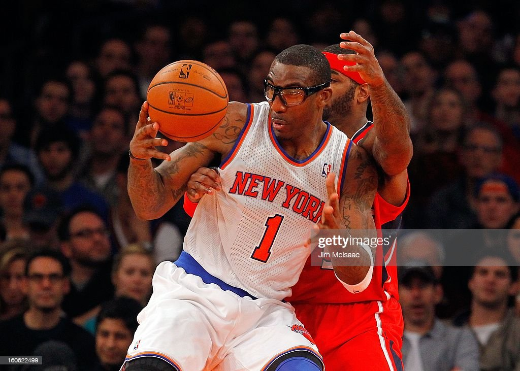 Amar'e Stoudemire #1 of the New York Knicks in action against the Atlanta Hawks at Madison Square Garden on January 27, 2013 in New York City. The Knicks defeated the Hawks 106-104.