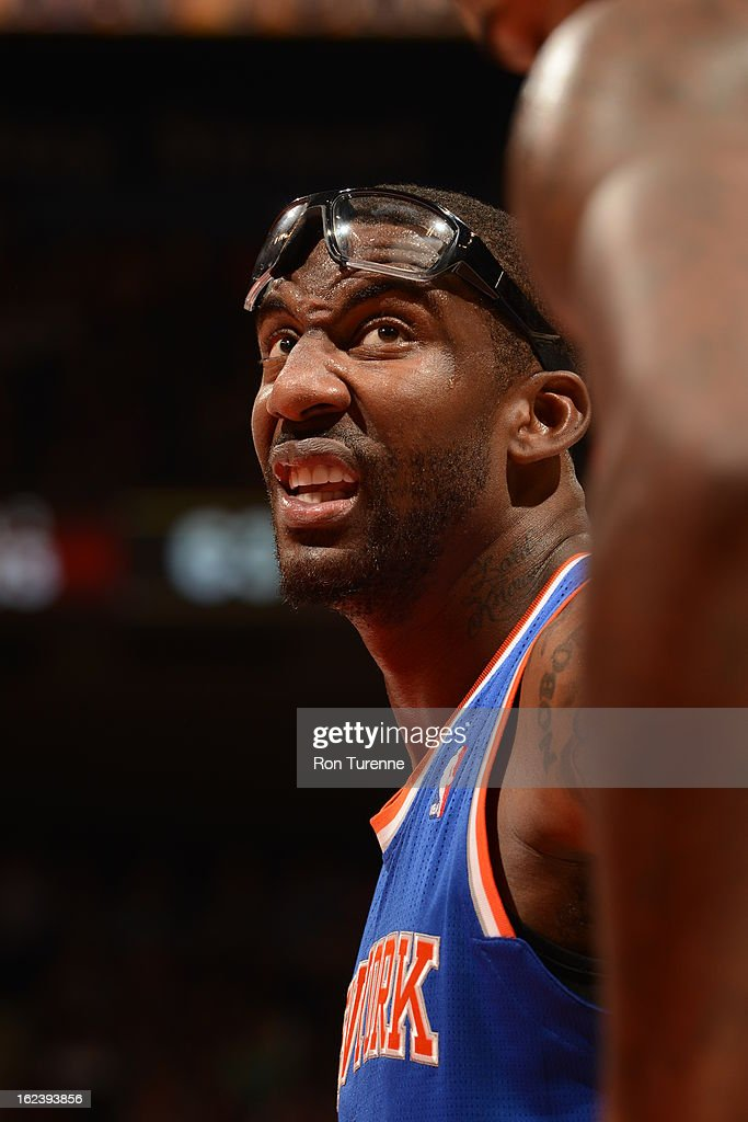 <a gi-track='captionPersonalityLinkClicked' href=/galleries/search?phrase=Amar%27e+Stoudemire&family=editorial&specificpeople=201492 ng-click='$event.stopPropagation()'>Amar'e Stoudemire</a> #1 of the New York Knicks looks on during the game against the Toronto Raptors on February 22, 2013 at the Air Canada Centre in Toronto, Ontario, Canada.