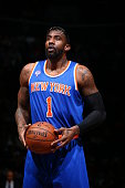 Amar'e Stoudemire of the New York Knicks prepares to shoot a free throw against the Brooklyn Nets on February 6 2015 at the Barclays Center in the...