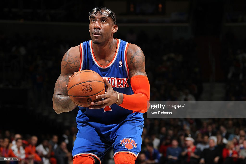 <a gi-track='captionPersonalityLinkClicked' href=/galleries/search?phrase=Amar%27e+Stoudemire&family=editorial&specificpeople=201492 ng-click='$event.stopPropagation()'>Amar'e Stoudemire</a> #1 of the New York Knicks shoots a free throw against the Washington Wizards during the game at the Verizon Center on February 6, 2013 in Washington, DC.