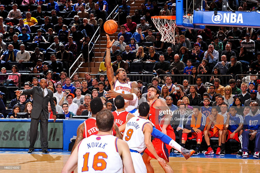Amar'e Stoudemire #1 of the New York Knicks shoots in the lane against the Atlanta Hawks at Madison Square Garden on January 27, 2013 in New York, New York.