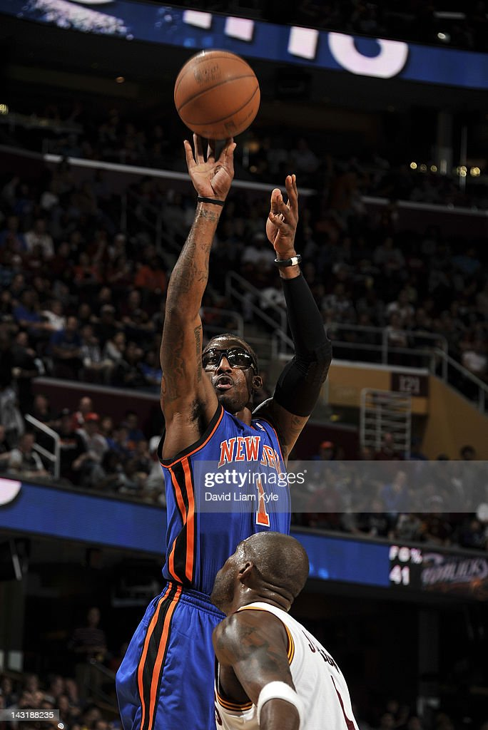 Amare Stoudemire #1 of the New York Knicks shoots the jumper over <a gi-track='captionPersonalityLinkClicked' href=/galleries/search?phrase=Antawn+Jamison&family=editorial&specificpeople=201670 ng-click='$event.stopPropagation()'>Antawn Jamison</a> #4 of the Cleveland Cavaliers at The Quicken Loans Arena on April 20, 2012 in Cleveland, Ohio.