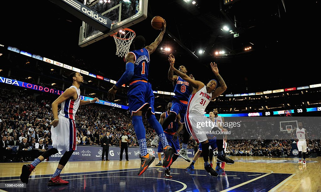 Amar'e Stoudemire of the New York Knicks slams a basket during the NBA London Live 2013 game between New York Knicks and the Detroit Pistons at the O2 Arena on January 17, 2013 in London, England.