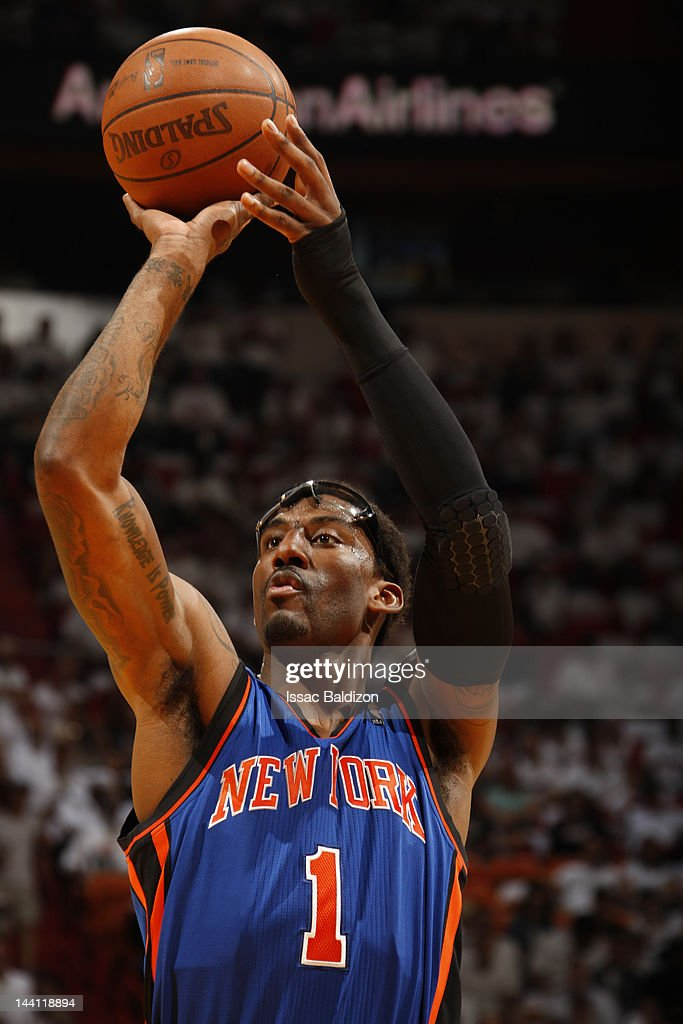 Amare Stoudemire #1 of the New York Knicks takes a foul shot in Game Five of the Eastern Conference Quarterfinals against the Miami Heat during the 2012 NBA Playoffs on May 9, 2012 at American Airlines Arena in Miami, Florida.