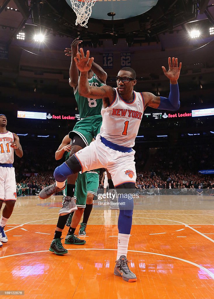 Amar'e Stoudemire #1 of the New York Knicks takes the shot against the Boston Celtics at Madison Square Garden on January 7, 2013 in New York City.