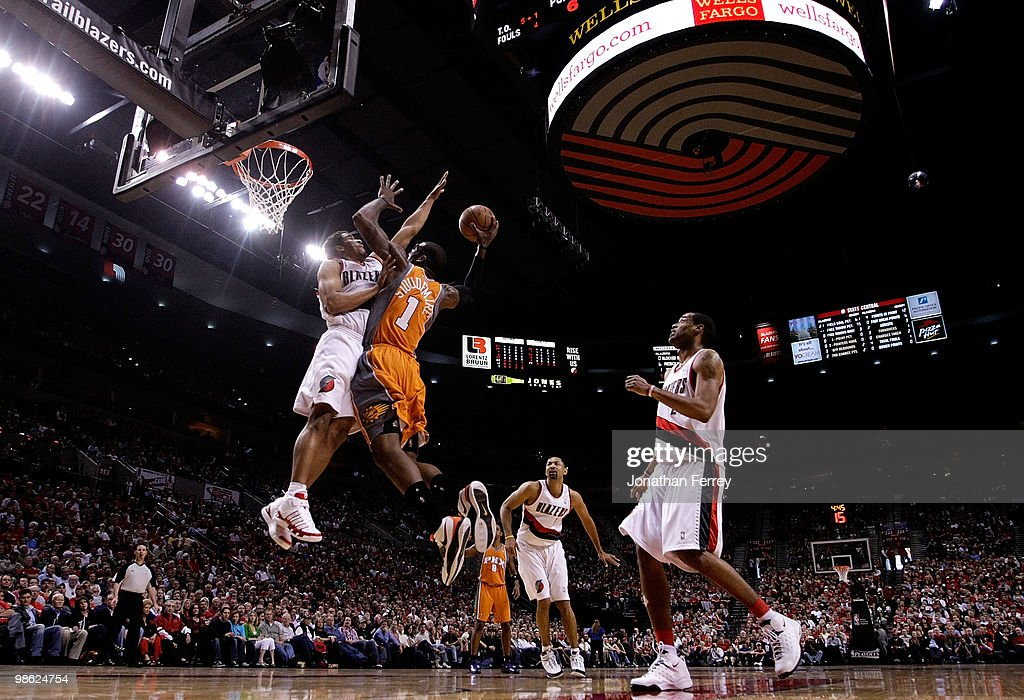 Amar'e Stoudemire #1 of the Phoenix Suns shoots a basket against <a gi-track='captionPersonalityLinkClicked' href=/galleries/search?phrase=Andre+Miller&family=editorial&specificpeople=201678 ng-click='$event.stopPropagation()'>Andre Miller</a> #24 of the Portland Trail Blazers during Game 3 of the Western Conference Quarterfinals of the NBA Playoffs on April 22, 20010 at the Rose Garden in Portland, Oregon.