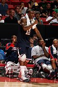 Amare Stoudemire of the USA Men's Senior National Team cheers on his teammates from the sideline during the first round of the 2007 FIBA Americas...