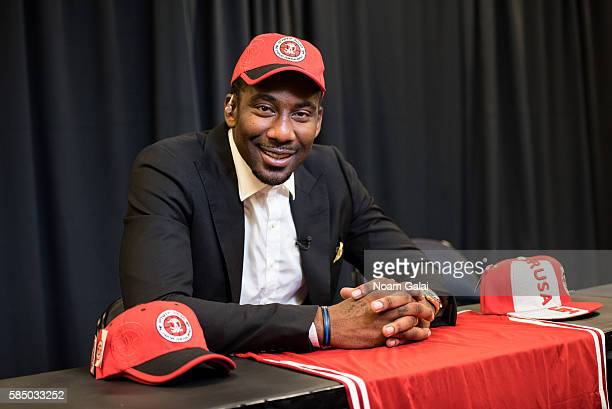 Amar'e Stoudemire speaks at a press conference to announce his retirement from the NBA and for signing a contract with Hapoel Jerusalem Basketball...