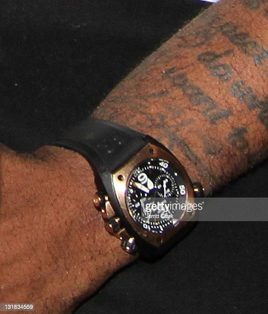 Amar'e Stoudemire wears a Bell Ross BR 0294 in Rubber and Rose Gold watch while watching Game Five of the Eastern Conference Semifinals between the...