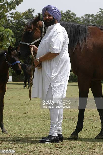 Amarinder Singh Chief Minister of Punjab and a Scion of the Patiala Royal Family photographed at his New Moti Bagh residential Palace with the horses...