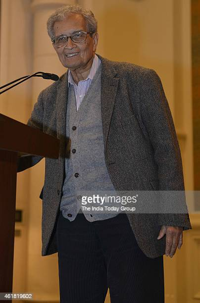Amartya Sen at his launch of a series of books in New Delhi