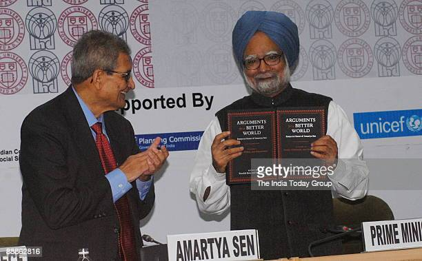Amartya Sen Indian Nobel Laureate with Manmohan Singh Prime Minister of India in New Delhi India