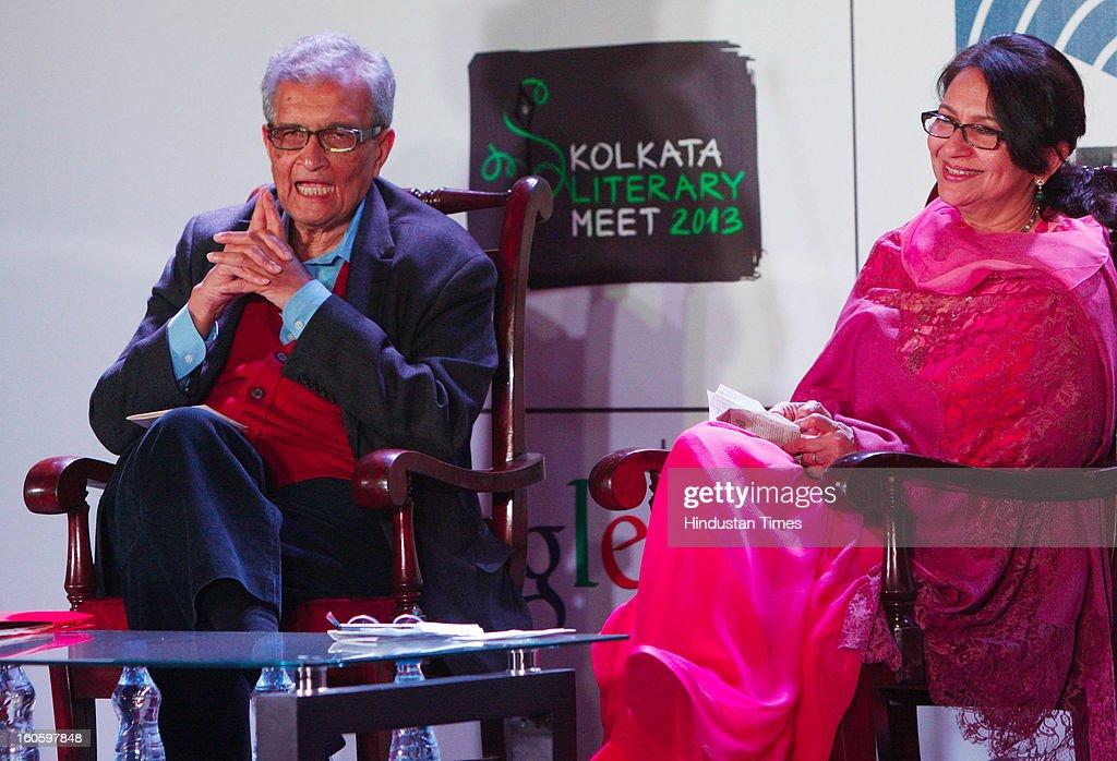 Amartya Sen is India's sixth Nobel Laureate with India's premier film actresses Sharmila Tagore at Kolkata Literary Meet 2013 on February 3, 2013 in Kolkata, India.