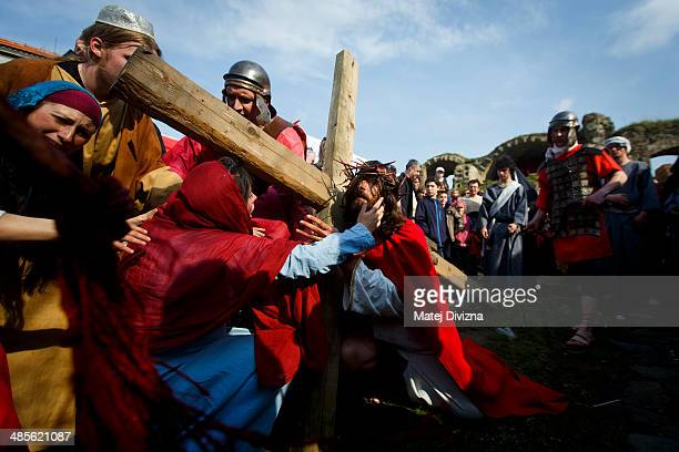 Amateur actors perform 'The Passion Of Christ' reenactment of the crucifixion of Jesus Christ on the Easter Saturday on April 19 2014 in Ceska Lipa...