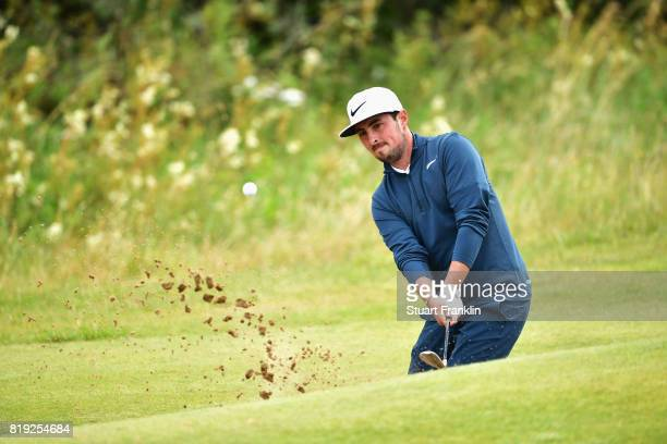 Amateur Alfie Plant of England hits a bunker shot on the 5th hole during the first round of the 146th Open Championship at Royal Birkdale on July 20...