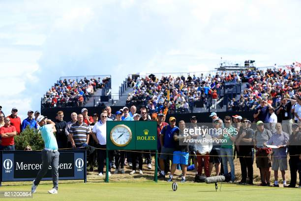 Amateur Alfie Plant of England hits his tee shot on the 15th hole during the final round of the 146th Open Championship at Royal Birkdale on July 23...