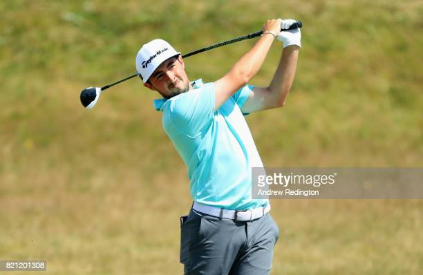 Amateur Alfie Plant of England in action during the final round of the 146th Open Championship at Royal Birkdale on July 23 2017 in Southport England