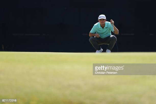 Amateur Alfie Plant of England lines up a putt on the 9th green during the final round of the 146th Open Championship at Royal Birkdale on July 23...