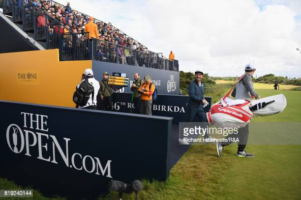 Amateur Alfie Plant of England walks onto the first tee during the first round of the 146th Open Championship at Royal Birkdale on July 20 2017 in...