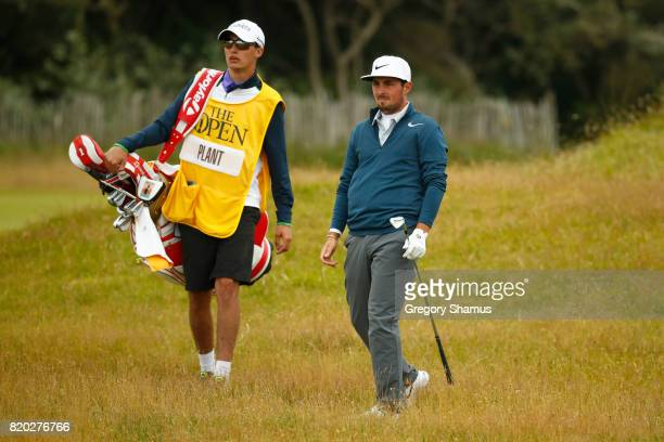 Amateur Alfie Plant of England watches his second shot on the 1st hole during the second round of the 146th Open Championship at Royal Birkdale on...