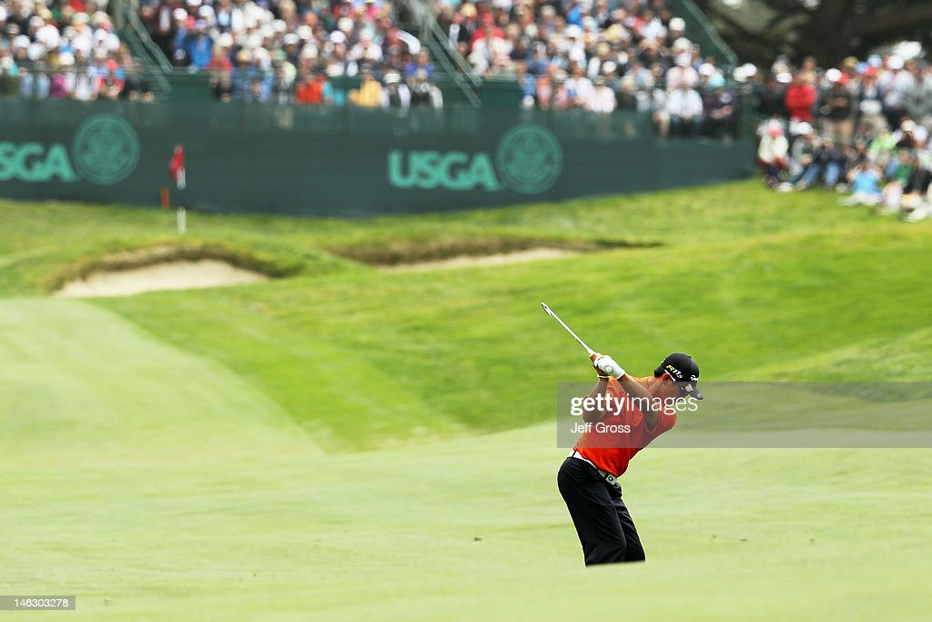 Amateur Andy Zhang of China hits a shot during a practice round prior to the start of the 112th U.S. Open at The Olympic Club on June 13, 2012 in San Francisco, California.
