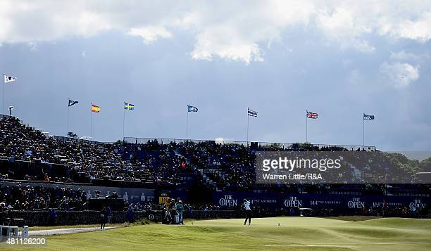 Amateur Ashley Chesters of England hits his tee shot on the 18th hole during the second round of the 144th Open Championship at The Old Course on...