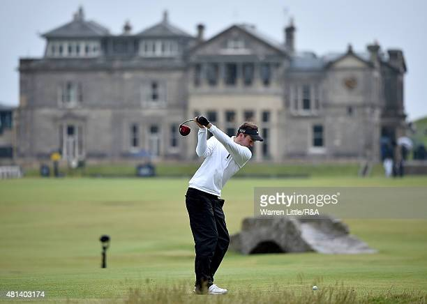 Amateur Ashley Chesters of England hits his tee shot on the 18th hole during the final round of the 144th Open Championship at The Old Course on July...