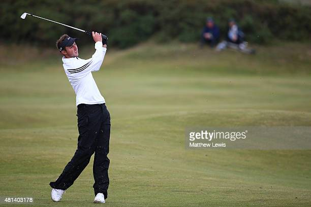 Amateur Ashley Chesters of England plays his fourth shot on the 15th hole during the final round of the 144th Open Championship at The Old Course on...