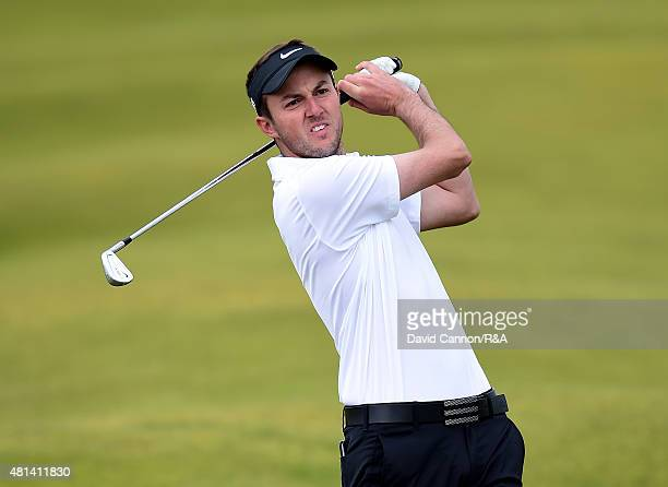 Amateur Ashley Chesters of England plays his second shot on the fifth hole during the final round of the 144th Open Championship at The Old Course on...