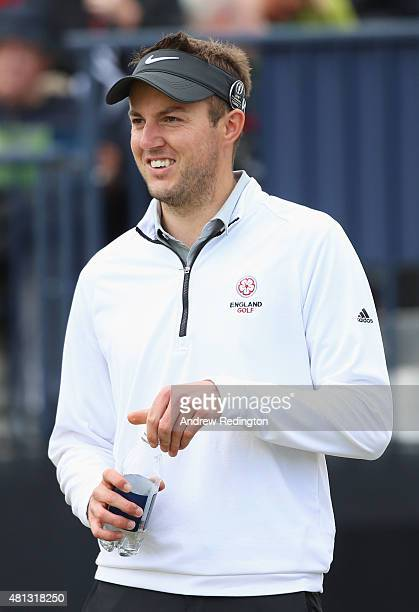 Amateur Ashley Chesters of England smiles as he stands on the 17th tee during the third round of the 144th Open Championship at The Old Course on...