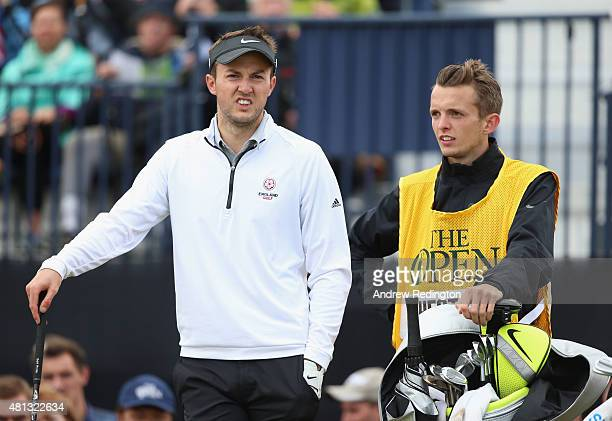 Amateur Ashley Chesters of stands with caddie Ricky Pharo on the 17th tee during the third round of the 144th Open Championship at The Old Course on...