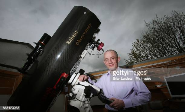 Amateur astronomer Dave Grennan with the telescope he built himself for his Raheny Observatory in Dublin which is a shed in his back garden that has...