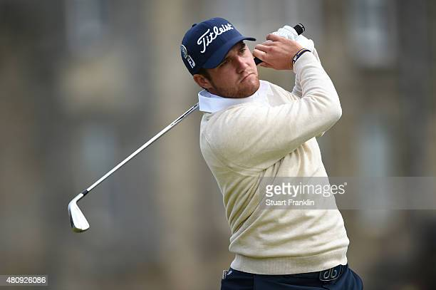 Amateur Ben Taylor of England tees off on the 2nd hole during the first round of the 144th Open Championship at The Old Course on July 16 2015 in St...