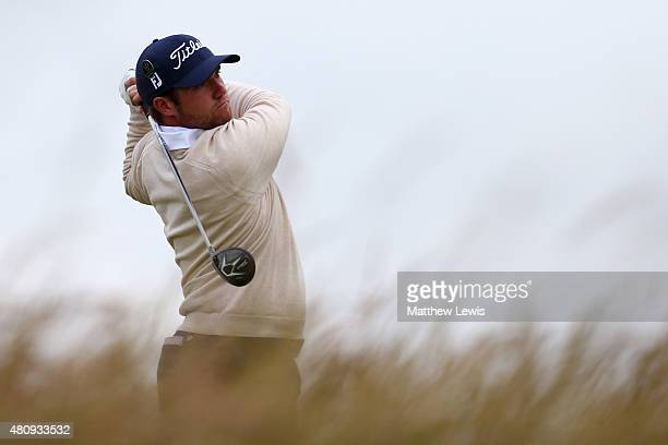 Amateur Ben Taylor of England tees off on the 6th hole during the first round of the 144th Open Championship at The Old Course on July 16 2015 in St...