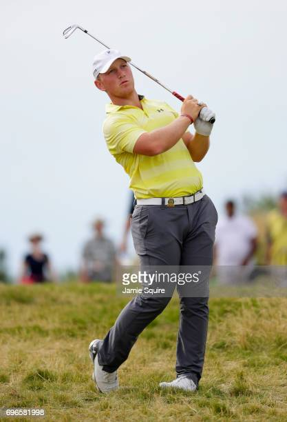 Amateur Brad Dalke of the United States plays a shot on the fourth hole during the second round of the 2017 US Open at Erin Hills on June 16 2017 in...