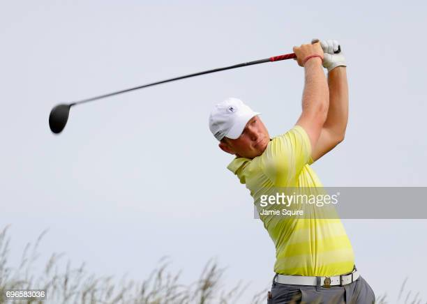 Amateur Brad Dalke of the United States plays his shot from the fifth tee during the second round of the 2017 US Open at Erin Hills on June 16 2017...