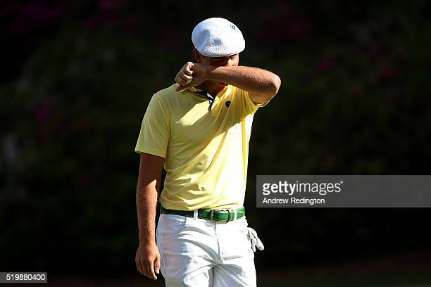 Amateur Bryson DeChambeau of the United States reacts on the 13th green during the second round of the 2016 Masters Tournament at Augusta National...